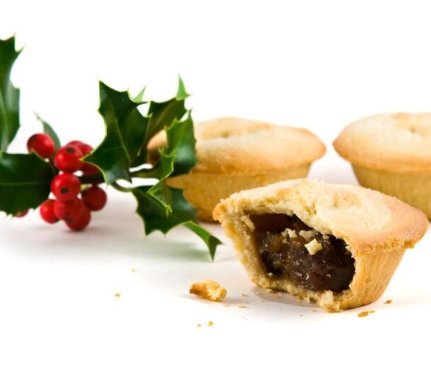 mince pies and holly sprig