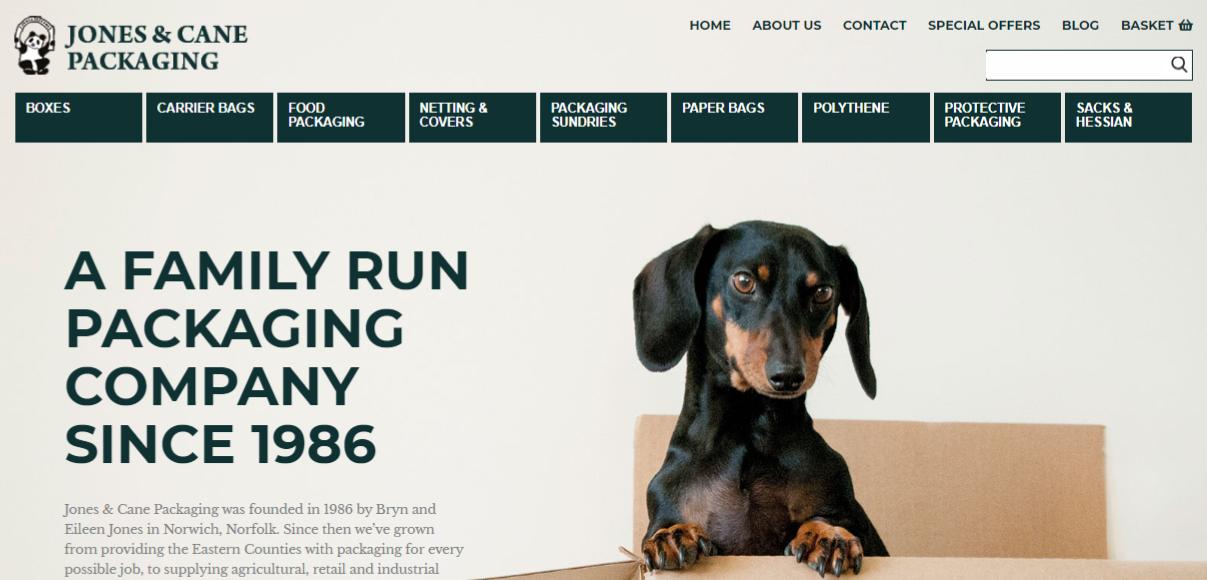 homepage of new jones & cane website
