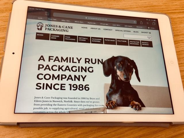 website displayed on ipad